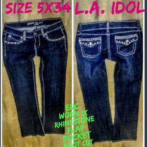 L.A. Idol Jeans Size 5x34 Boot Cut Flap Pocket EUC